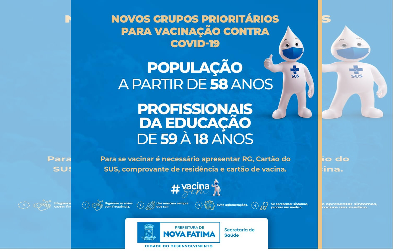 Prefeitura de Nova Fátima anuncia vacinação para profissionais da Educação acima dos 18 anos