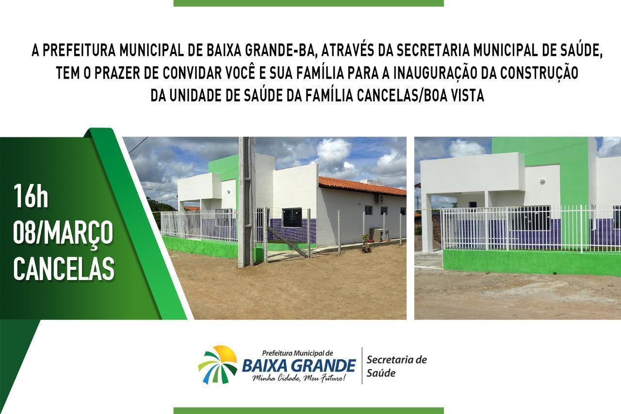 Prefeitura de Baixa Grande vai entregar neste domingo Posto de Saúde à comunidade das Cancelas