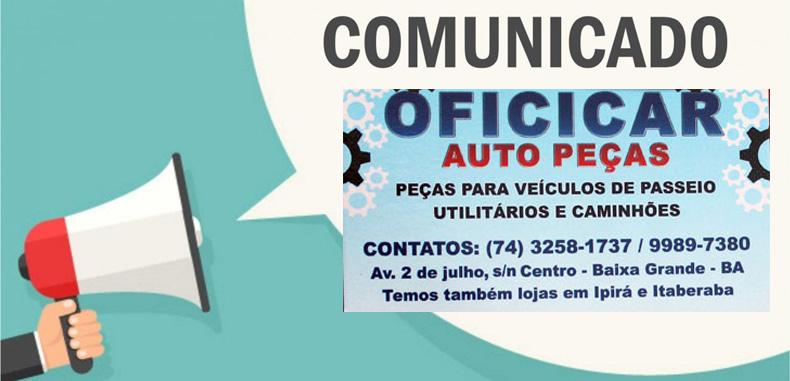 Comunicado da Oficicar Auto Peças de Baixa Grande, atendimento suspenso até dia 30