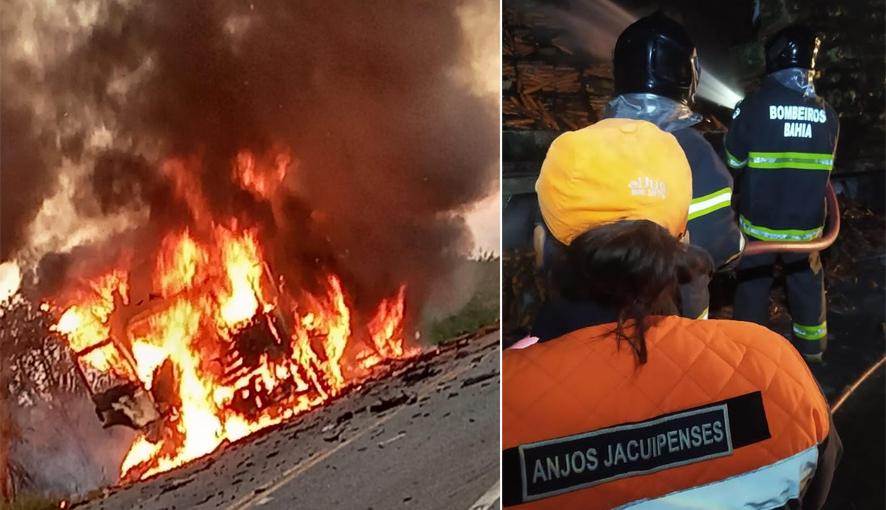 Caminhão carregado com cenoura e repolho pega fogo em Riachão do Jacuípe