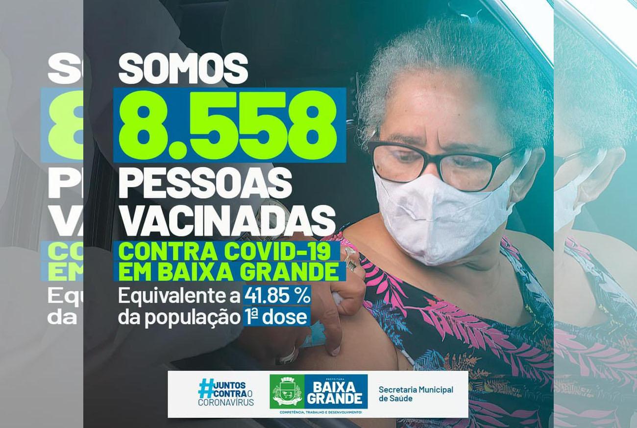 Baixa Grande ocupa a 20ª posição no ranking de cidades que mais vacinaram na Bahia