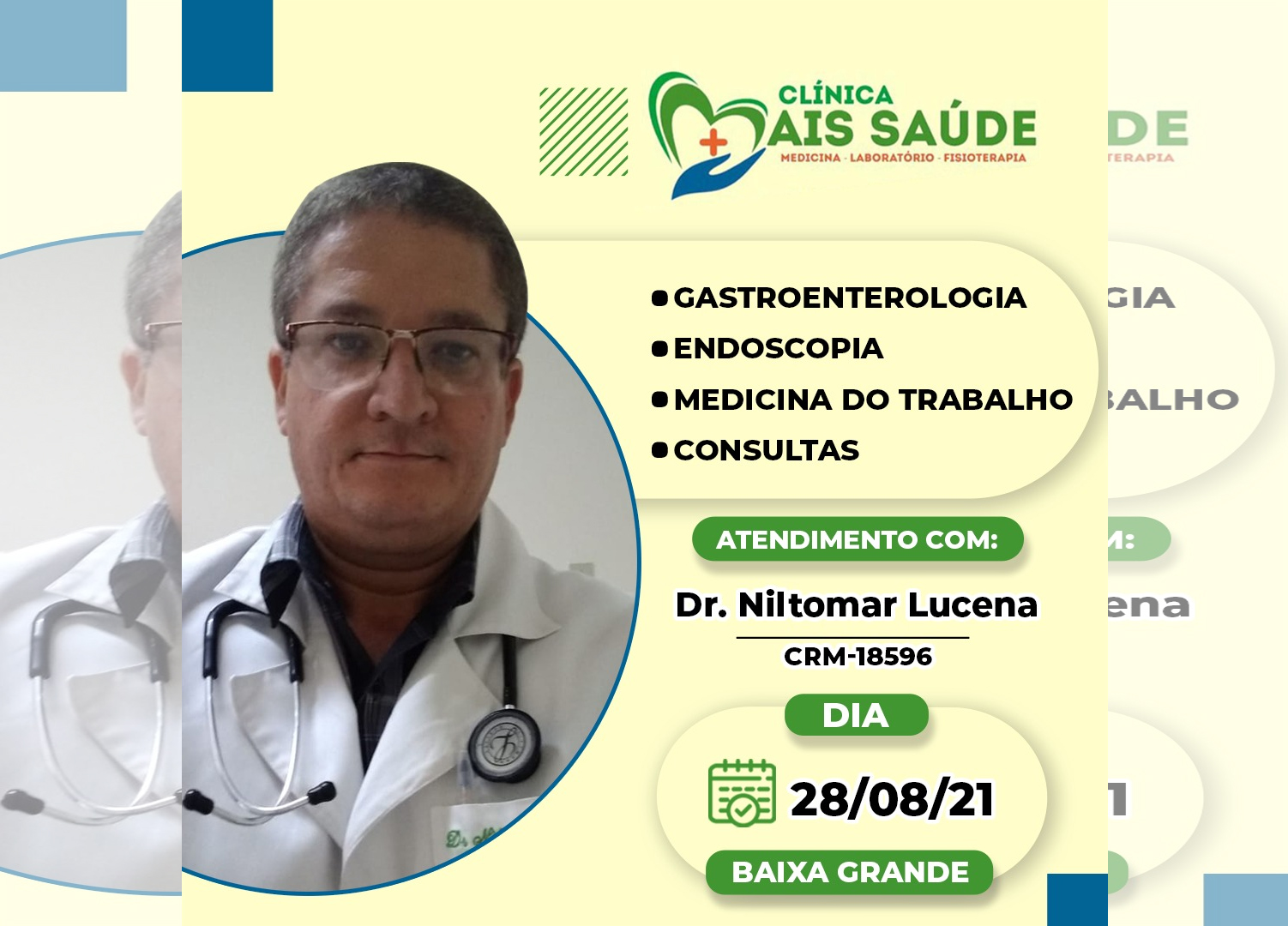 Médico Dr. Niltomar Lucena atende neste sábado na Clínica Mais Saúde em Baixa Grande