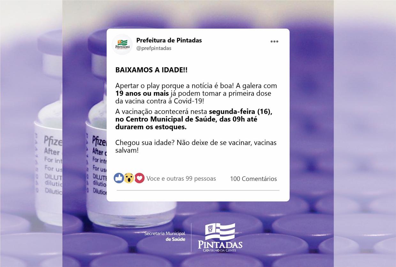Covid-19   Pintadas anuncia vacinação de pessoas com 19 anos já na próxima segunda-feira (16)