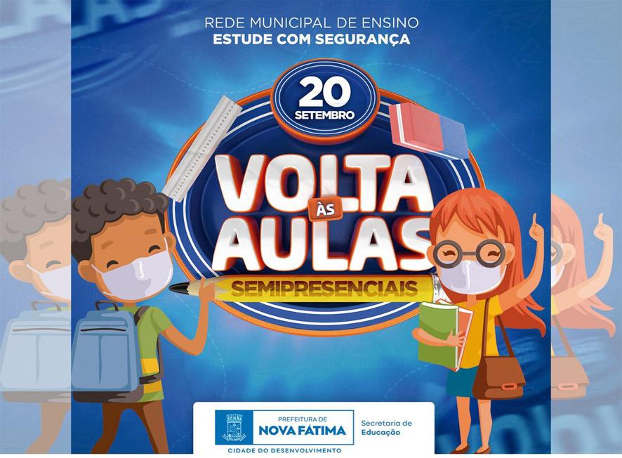 Nova Fátima anuncia para segunda-feira, dia 20 retorno das aulas semipresenciais