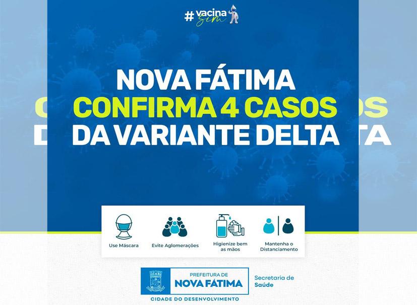 Nova Fátima confirma quatro casos da variante Delta da Covid-19