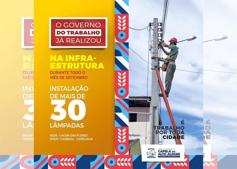 O Governo do trabalho já realizou | mais de 30 lâmpadas por toda cidade de Capela do Alto Alegre